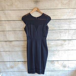 GUESS Black Cap Sleeve Lace Midi Dress Small